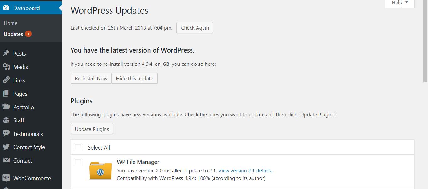 How to build a website - WordPress updates