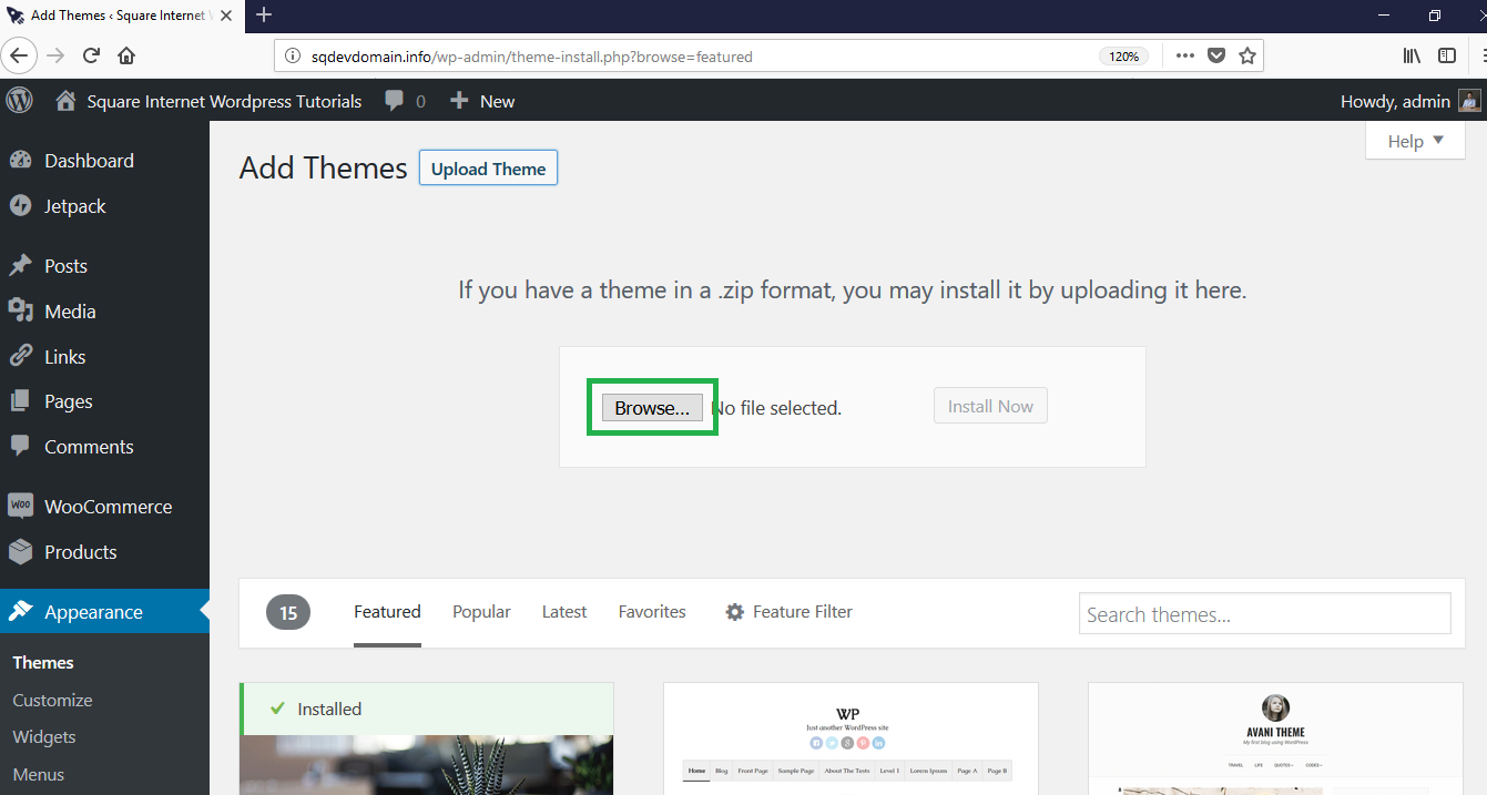 How to use WordPress - browse for theme file