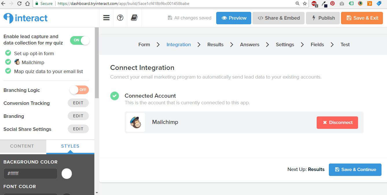Interact Mailchimp integration