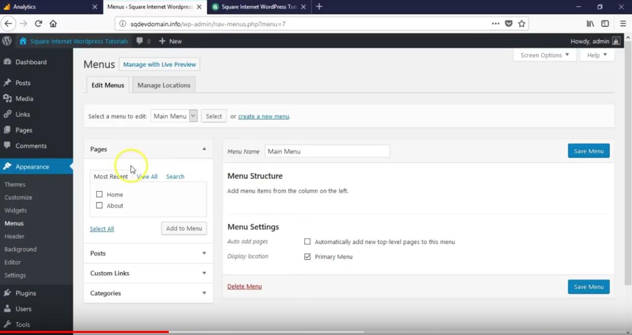 How to create a wordpress menu