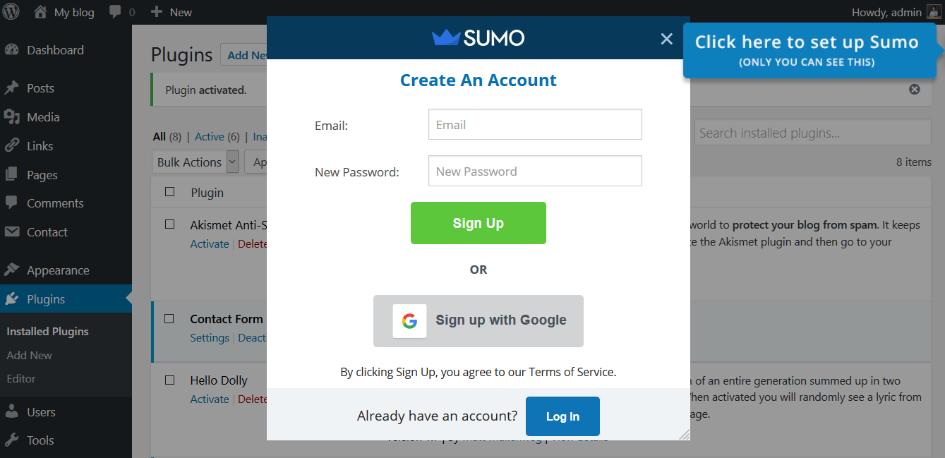 SumoMe WordPress create account