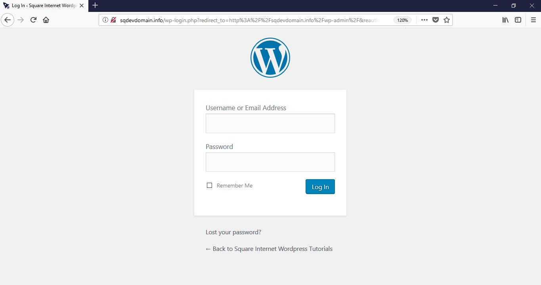 How to use WordPress - login screen