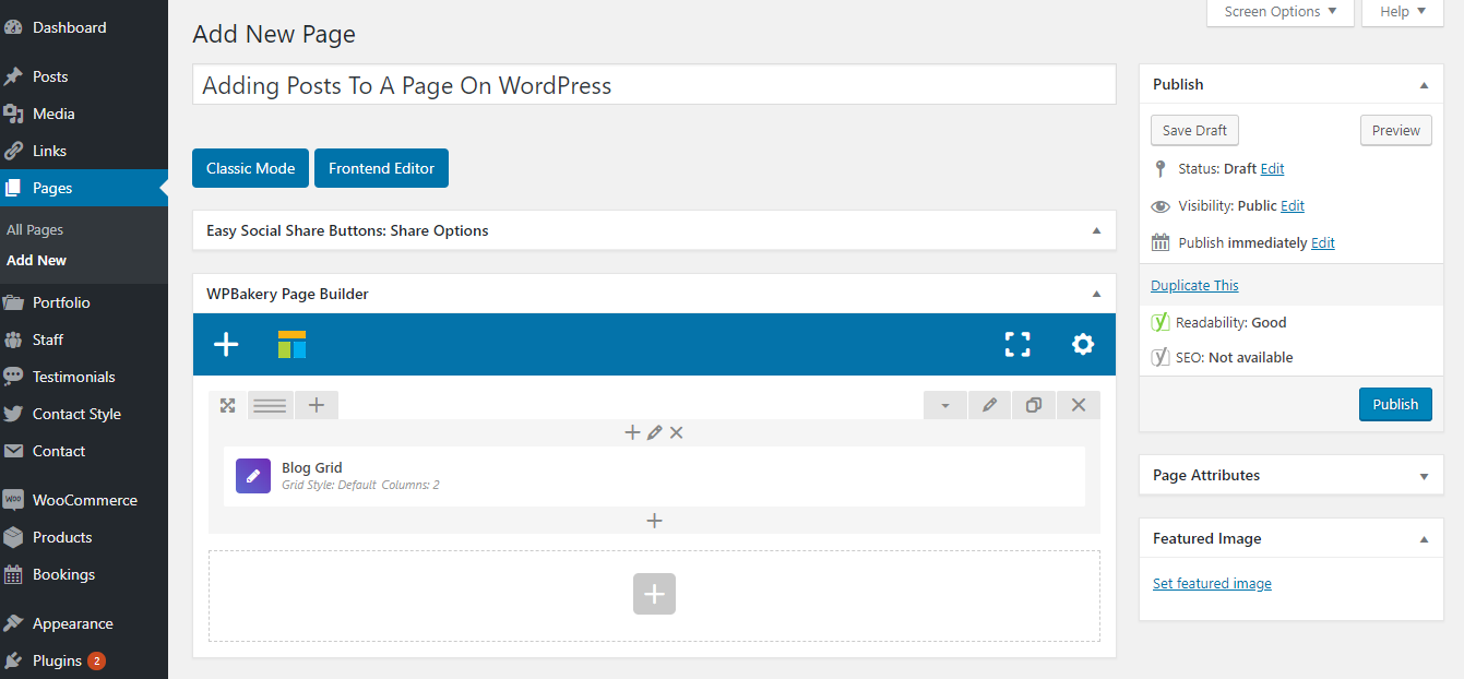 Adding Posts To A Page On WordPress