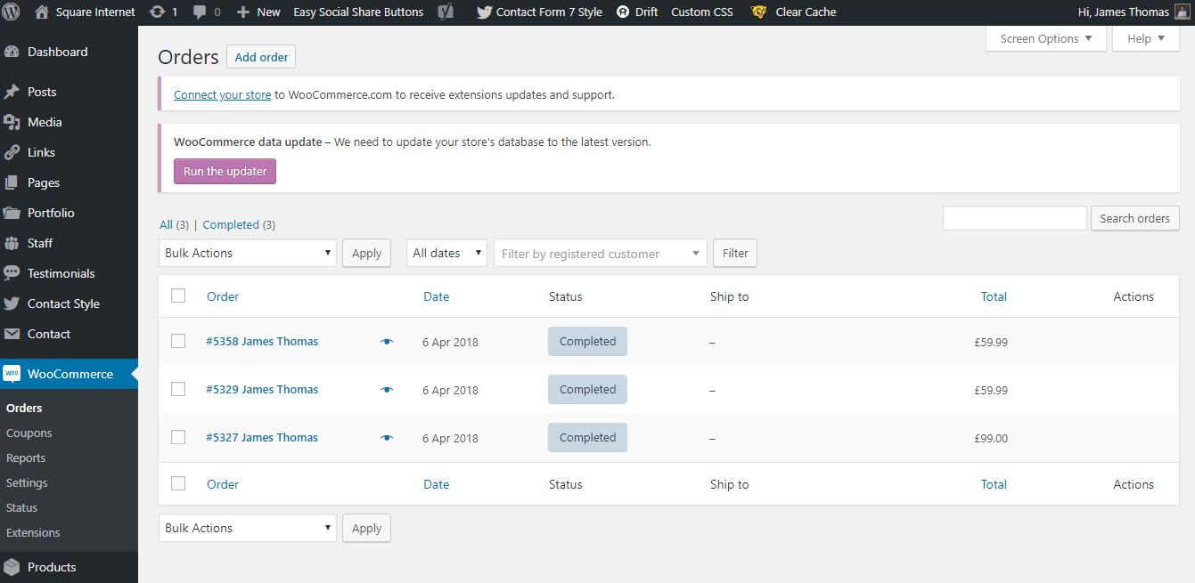 WordPress Orders
